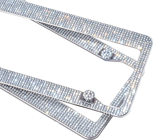 2 Pack Handcrafted Crystal Premium Stainless Steel Bling License Plate Frame (Crystal)
