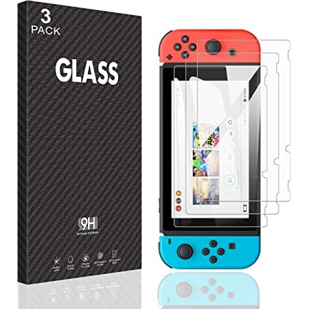 [Paquete de 3] para Nintendo Protector de pantalla de vidrio templado transparente HD transparente antiarañazos [funciona mientras se acopla] – 0,3 mm de grosor/sin burbujas/ultra claro/dureza 9H antiarañazos/irrompibles/anti-huellas dactilares