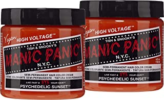 Manic Panic Psychedelic Sunset Orange Hair Color Cream (2-Pack) Classic High Voltage Semi-Permanent Hair Dye. Vivid Shade For Dark, Light Hair. Vegan, PPD & Ammonia-Free. Ready-to-Use, No-Mix Coloring
