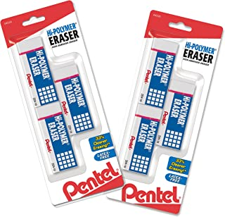 Pentel Hi-Polymer Block Eraser, Large, White 6 pack (ZEH10BP3P2)