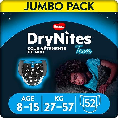 Huggies DryNites, Sous-vêtements de nuit absorbants jetables, Pour garçons, Taille: 8-15 ans, 52 culottes (4 x 13 un...