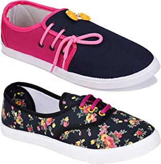WORLD WEAR FOOTWEAR Women Multicolour Latest Collection Loafers Shoes-Pack of 2 (Combo-(2)-611-11028)