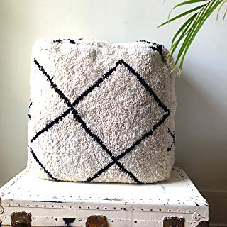 Black and White Azilal Beni Orin Square Rug Pouf