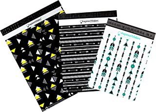 Inspired Mailers - Poly Mailers Variety Pack - 10x13 Turquoise Arrows, 12.5x15.5 Wild and Free, 14.5x19 Here and Now - 30 Pack (10 Each) - 3.15mil Unpadded
