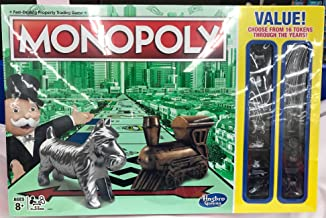 Monopoly 2017 Traditional Look Board Game with Bonus 16 Different Tokens Including Thimble, Boot and Wheelbarrow!