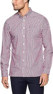 TOMMY HILFIGER Men's Gingham Check Shirt, Medieval Blue/Haute Red