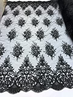 Floral Pattern Embroidery Lace Fabric with Tiny Sequins - Black - Design Embroided Lace Gorgeous Mesh Fabrics Sold by The Yard