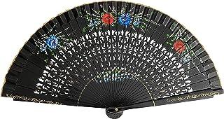 La Senorita Flamenco Fächer, Handfächer, Tanzfächer - Holz mit Blumen schwarz