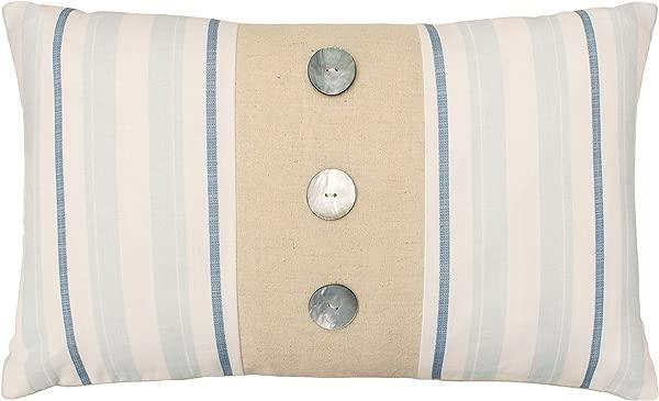 Laura Ashley Hadley Decorative Pillow 14 X 24 White Blue Natural