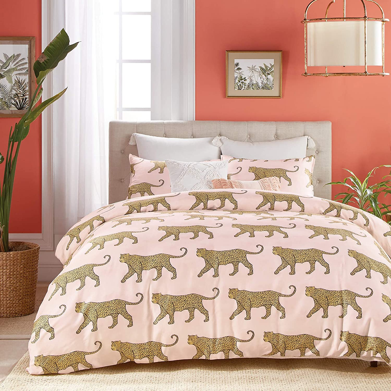 Peri Home Catwalk 100% Cotton 3-Piece Comforter and Sham Set, Full/Queen, Blush