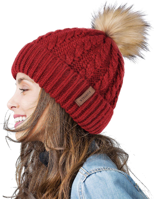 FURTALK Winter Beanie Hat for Women Cotton Lined Faux Fur Pom Pom Hats Womens Warm Thick Knit Skull Cap