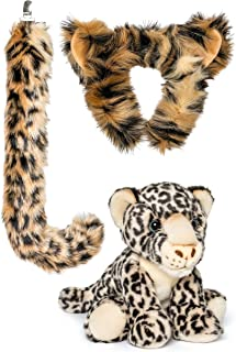 Wildlife Tree Stuffed Plush Snow Leopard Ears Headband and Tail Set with Baby Plush Toy Snow Leopard Bundle for Pretend Play Animals Dress Up