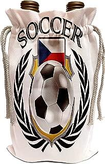 3dRose Carsten Reisinger - Illustrations - Czech Republic Soccer Ball with Fan Crest - Wine Bag (wbg_239706_1)