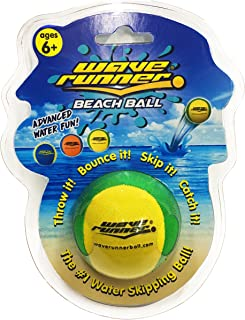 Wave Runner Water Runner Beach Ball 2.2 inch Water Skipper Ball OR Water Bounce Ball Waterproof Great Water Toy for Kids and Adults (Green Yellow)