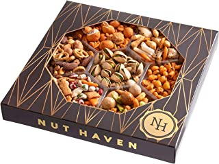 Nut Haven Holiday Nuts Christmas Gift Basket | Tasty Assortment of nuts, Pretzels, Crackers & More | Excellent Food Gift Tray for Thanksgiving, Birthday, Sympathy, Family, Men & Women