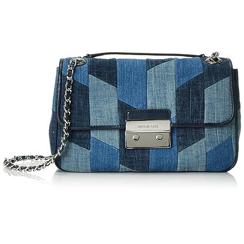 85181210c Michael Kors Womens Sloan Denim Patchwork Shoulder Handbag Blue Small