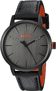 HUGO BOSS Men's Copenhagen Stainless Steel Quartz Watch with Leather Strap, Black, 20 (Model: 1550055