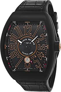 Vanguard Mens Automatic Date Black Titanium Face Black Rubber Strap Watch V 45 SC DT TT NR BR.SN