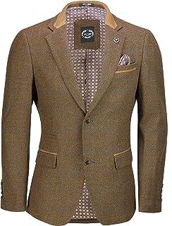 Xposed Mens Vintage Wool Mix Tweed Herringbone Check Blazer Grey Brown Green Smart Designer Jacket [Oak Brown,Chest UK 44 ...