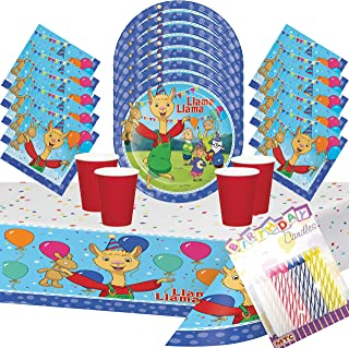 Llama Llama Party Supplies Pack Serves 16: Dinner Plates Luncheon Napkins Cups with Birthday Candles - (Bundle for 16)