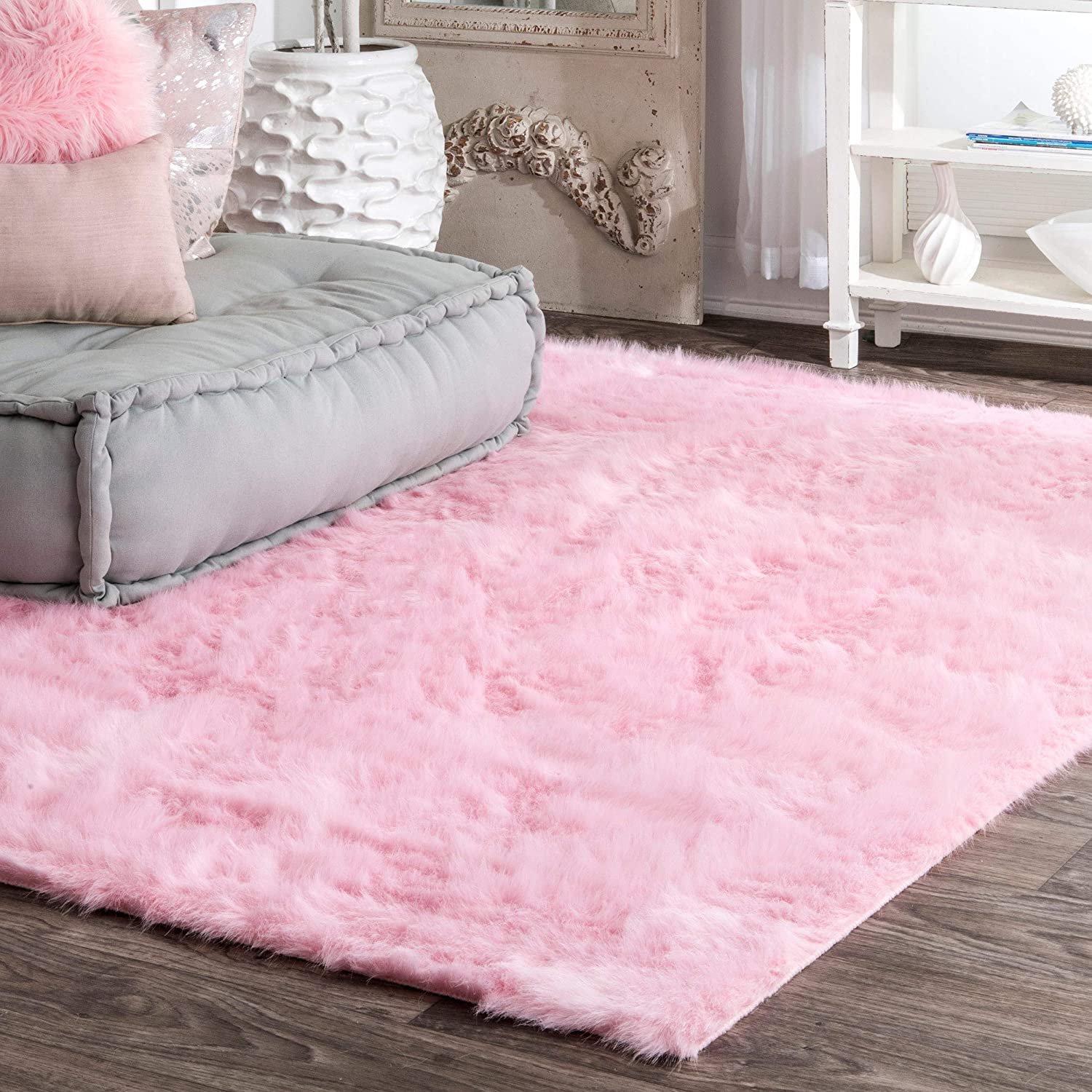 NuLOOM Faux Sheepskin Cloud Solid Soft and Plush Shag Round Area Rug, 5', Ivory-P