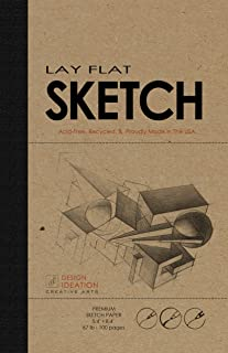 "Design Ideation Lay Flat Premium Paper Sketchbook. Removable Sheet pad for Pencil, Ink, Marker, Charcoal and Watercolor Paints. Great for Art, Design and Education. 5.4"" x 8.4"". (1)"