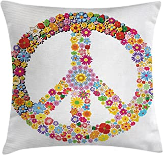 Ambesonne Groovy Throw Pillow Cushion Cover, Floral Peace Sign Summer Spring Blooms Love Happiness Themed Illustration Print, Decorative Square Accent Pillow Case, 18