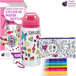 Color Your Own Water Bottle for Girls with 10 Bright Markers, Rhinestone Gem Stickers Plus a Bonus Pencil Case! BPA Free Kids Water Bottle! Cute Gift for Girl, Fun DIY Art and Craft Set for Children