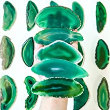 20 Extra Large Agate Placecards 3.75 inch - 4.75 inch Green Agate Slice A+ Place Cards Bulk Agate Slabs Geode Wedding Decor for Calligraphy Table Decor Tablescapes Bulk Wholesale Stones