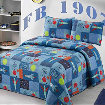 2 pc Twin Size Quilt Bedspread Kids/Teens Boys Space Ship Solar System Sun Orbits Blue Yellow Orange Multicolor Bedding New