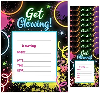 Neon Happy Birthday Invitations Invite Cards (10 Count) With Envelopes Boys Girls Kids Party (10ct)