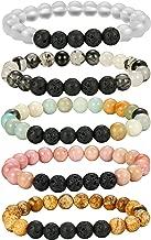 FIBO STEEL 5-6 Pcs Crystal Aromatherapy Diffuser Bracelet Women Girls Lava Stone Bead Bracelet Set 8MM Beads
