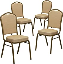 Flash Furniture 4 Pk. HERCULES Series Crown Back Stacking Banquet Chair in Beige Patterned Fabric - Gold Frame