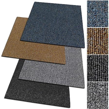 Anthrazit-grau, 1 St/ück Design Teppichfliesen Bohemia 50x50 cm selbstliegend antistatisch mit Bitumen R/ücken strapazierf/ähiger Teppich Bodenbelag mit hochwertigem Schlingenflor