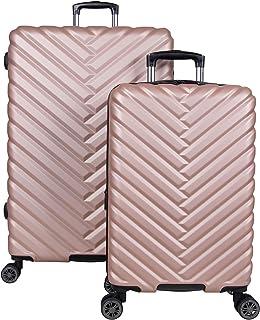 "Kenneth Cole Reaction Women's Madison Square Hardside Chevron Expandable Luggage, Rose Gold, 2-Piece Set (20"" & 28"")"