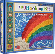 Harrisville Designs Friendly Loom Rainbow Rug Hooking Kit with wool yarn, Weaving Crafts for Kids Age 8 and up