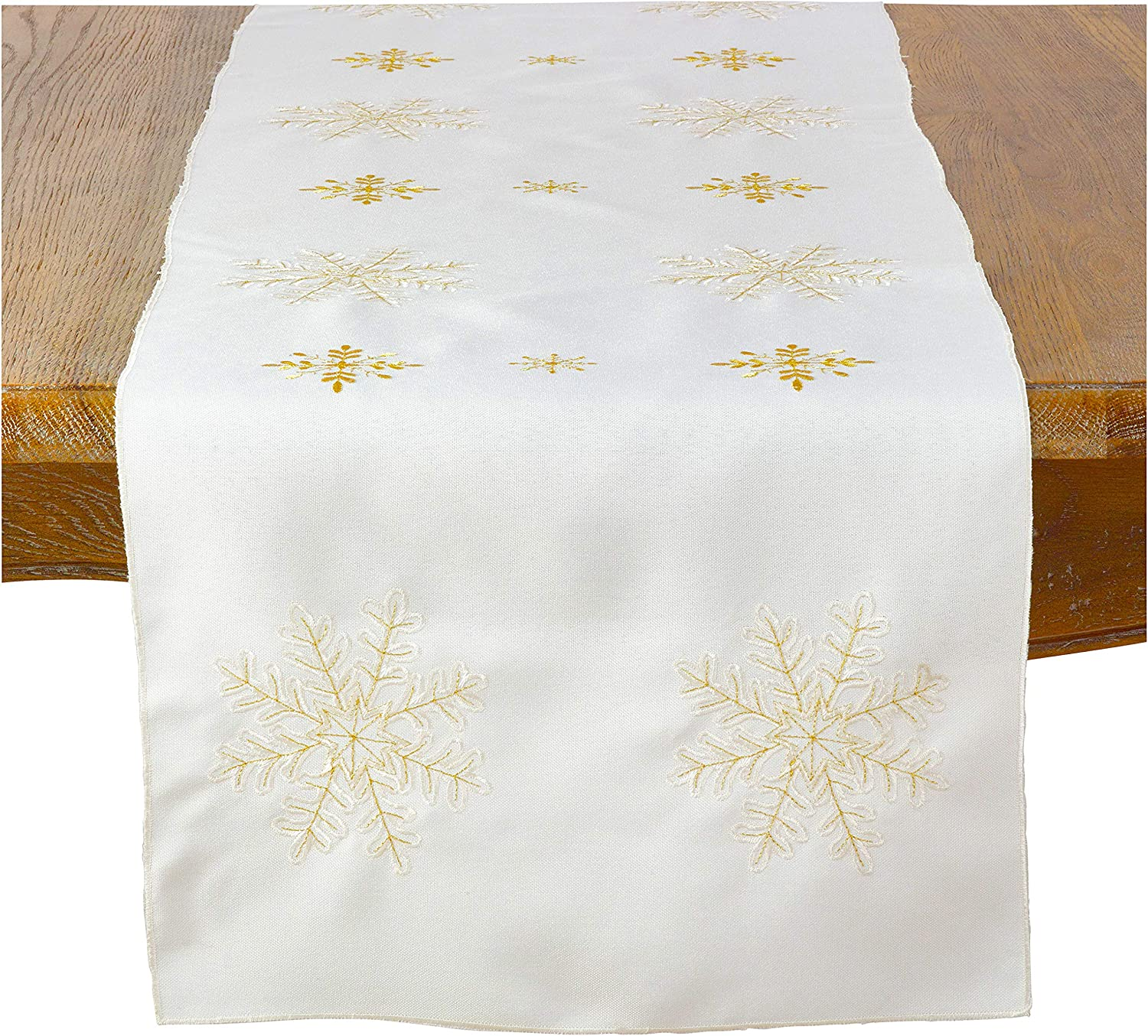 Occasion Gallery Max 54% OFF Ivory Winter Table Christmas Safety and trust Holiday Snowflake