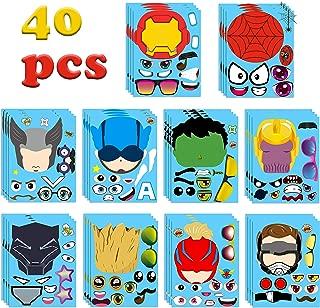 MALLMALL640Pcs Superhero MakeaFaceStickersPartyFavorsGames Superheroes Birthday Party Supplies Captain Sticker Comics Hero League Room Decorations Wall Decals DIYCrafts for Kids Boys Girls
