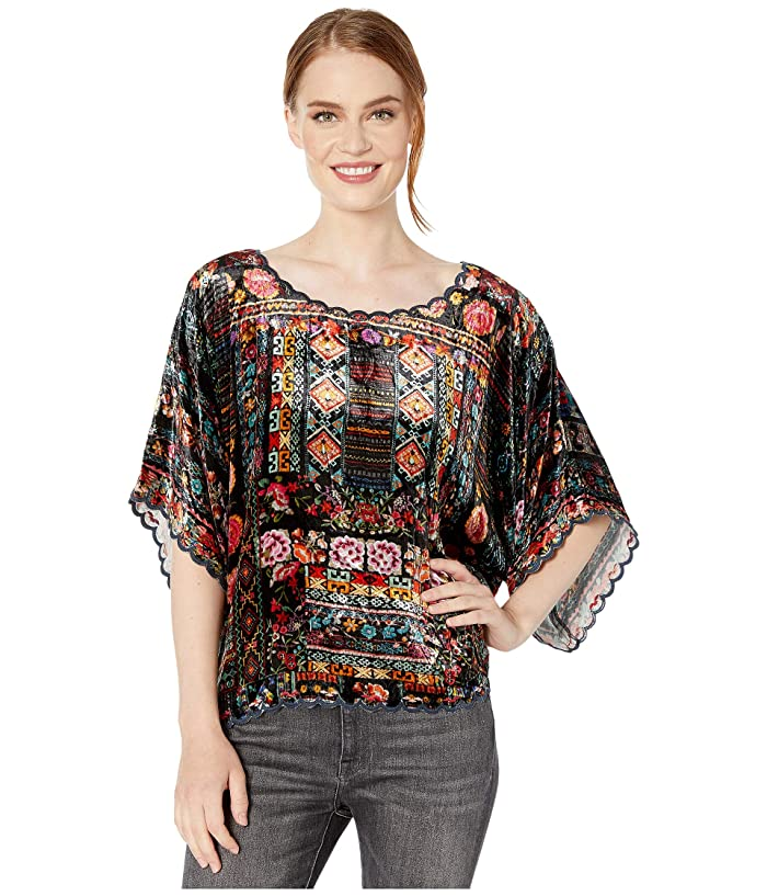 Women's 70s Shirts, Blouses, Hippie Tops Johnny Was Lora Crop Top Multi A Womens Clothing $202.50 AT vintagedancer.com