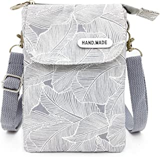 Roomy Cell Phone Purse Wallet Canvas Leaf Pattern Small Crossbody Purse Bags with Shoulder Strap For Women teen girlsl