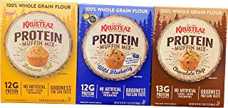 Krusteaz Protein Muffin Mix Bundle of 3 Boxes Wild Blueberry, Chocolate and Chip Banana Nut 16.22 oz Each