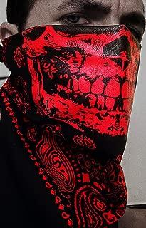 Hell Raiser Red and Black Skull Paisley Face Mask Bandana Cholo