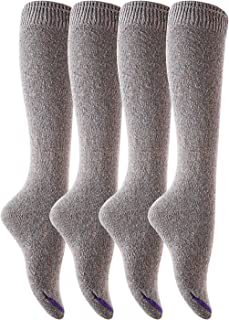 Meso Women's 4 Pairs Pack Knee High Cotton Boot Socks Wide Calf Knee Socks