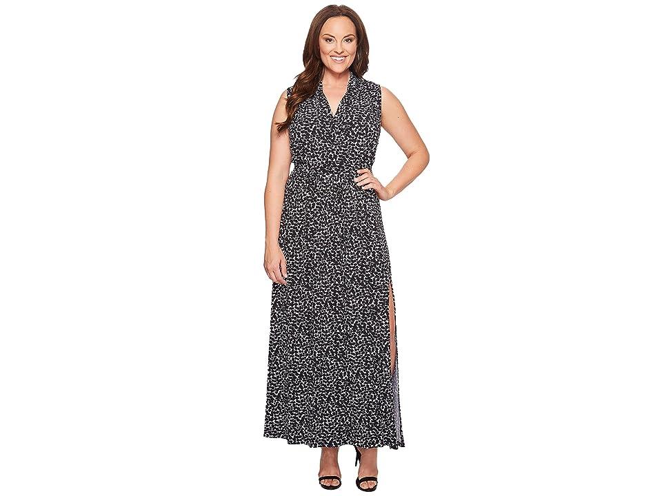MICHAEL Michael Kors Plus Size Mini Finy Slit Maxi Dress (Black) Women