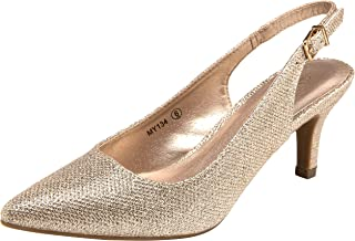 VOSTEY Womens MY134 Women Pumps Gold Size: 6 US