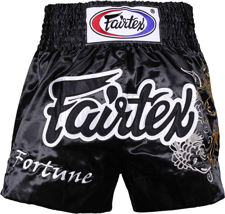 (XLarge, Fortune Black)  Fairtex Muay Thai Boxing Shorts Red Black White Size S M L XL XXL (3L)