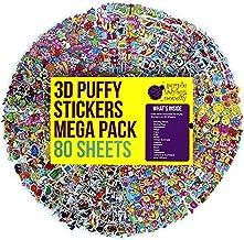 Purple Ladybug Novelty Pegatinas en Relieve 3D para Niños Gran Lote de 80 Hojas Todas Diferentes y más de 2000 Stickers | Calcomanías de Animales, Letras, Números, Emoji, Estrellas y Mucho Más