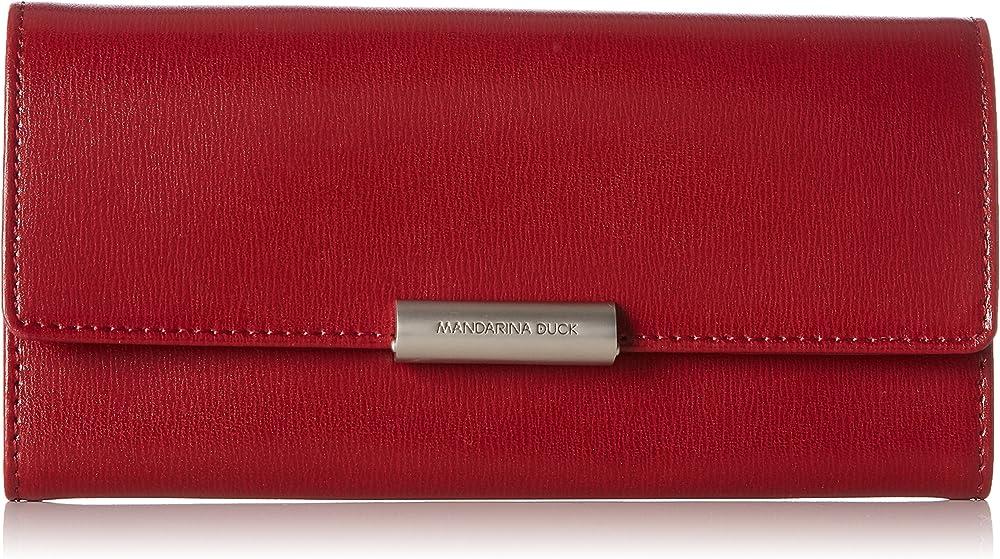 Mandarina duck  hera 3.0, portafoglio da donna, porta carte di credito in vera pelle P10RAP02