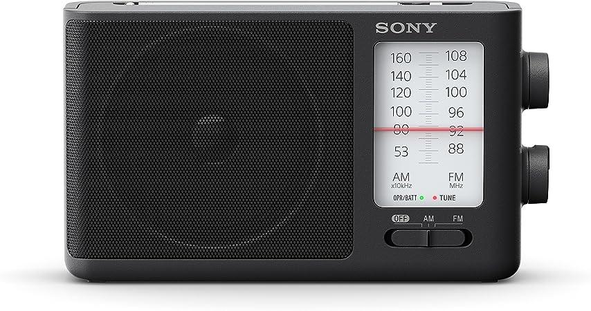 Sony ICF506 - Radio portátil (FM/AM de sintonización analógica con auriculares, asa de transporte, adaptador CA) negro