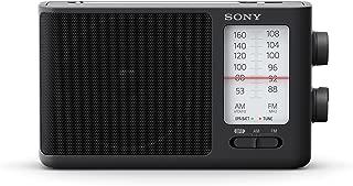 Sony 索尼 ICF-506 便携式模拟收音机 (复古设计,声音饱满,可插电或以电池供电,附把手) 黑色
